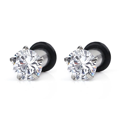 Steel Single Flare Prong Set Clear CZ Ear Stretcher Expander Plugs Piercing Gauge with O-Ring 6G(4mm)- Sold As a Pair (8g Plugs)