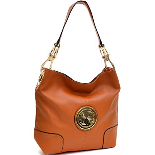 Accented Large Hobo Handbag - Dasein Soft Faux Leather Emblem Structured Tote Hobo Shoulder Bag Handbag Purse of work or shopping with Removable Gold Tone Accented Clip Handles - Orange