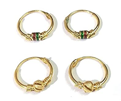 My Shop 2 Pairs Gold Plated Small Bali Earrings For Kids Girls