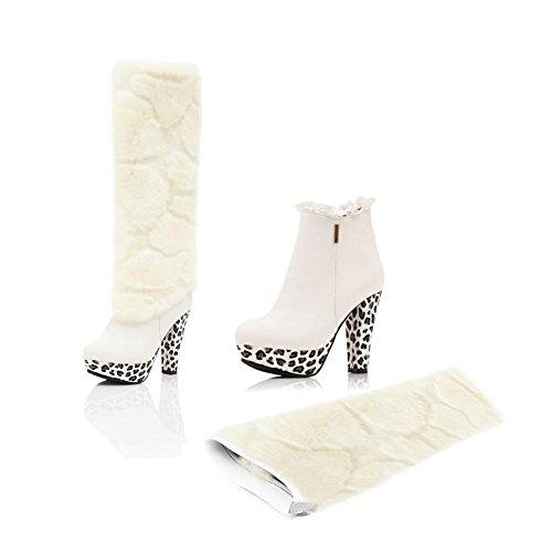 Womens Falso Pelliccia Overknee Punta Arrotondata Piattaforma Stiletto Multiuso Stivaletto Tacco Alto Alla Caviglia Per Autunno Inverno Bianco