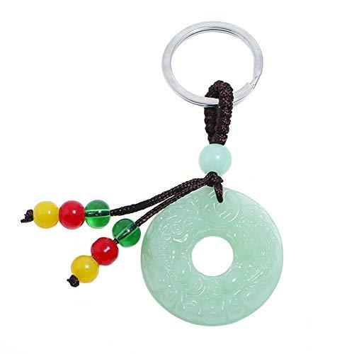 AFfeco Unisex Women Men Jade Tassel Pendant Keychain Charm Key Ring Jewelry (Ring)