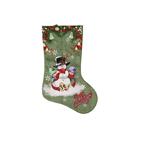 angel3292 Merry Christmas Santa Claus Snowman Elk Xmas Stocking Gift Candy Sock Ornament ()