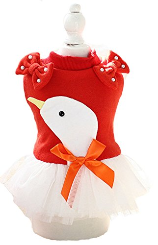 Stretch Veil (Marupet Dog Skirt Little Swan Veil Lovely Innocence Partial Thickness Stretch and Soft Moderate Red M)