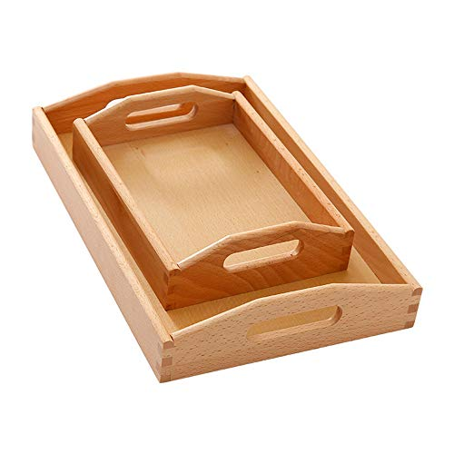 YUSDP Set of 2 Wooden Serving Tray, Beech Decorative Tray with Handles,Smooth Surface - Rectangle Tenon Structure Design, for Parties and Breakfast in Bed