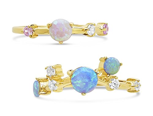 Sterling Forever Opal Stack Rings, Gold Rings, Opal Stackable Rings, 14k Plated, Gold 14k Plated Opal Ring, 14K Gold Vermeil Created Opal CZ Stackable Rings, (Set of 2) Ring Size 7