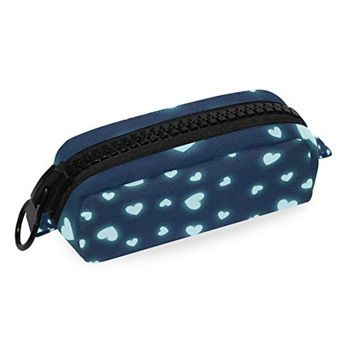 ILEEY Hearts Page Webpage Website Blog Pencil Case Zipper Canvas Student Stationery Pen Pouch Bag Office Storage Organizer for Women Girls Kids Teens