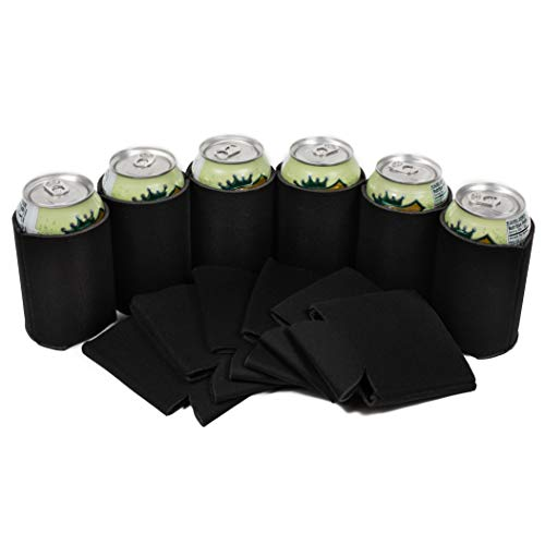 QualityPerfection- 12 Black Blank Beer Can Coolers - Beer,Soda Coolies Sleeves | Insulated Coolies for Personalized Sublimation HTV Sleeves| Perfect For DIY Projects,Holidays,Events (12, Box + Black)
