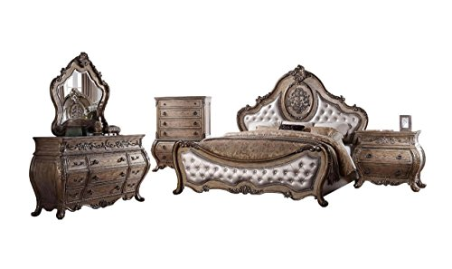 Bedroom Bed Sleigh Glass (Soflex Classic Rovigo Luxury Vintage Oak PU Tufted Sleigh Bedroom Set 5Pcs (Queen))