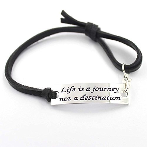 "YOYONY silver stampted ""Life is a journey ,not a destination"" inspirational bracelet with black leather strap"