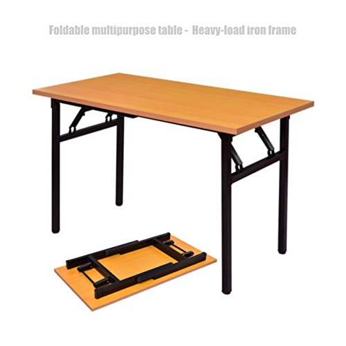 Price comparison product image Folding Desk Laptop Writing Wooden Table Durable MDF Board Desktop Powder Coated Steel Frame Workstation Home Office Furniture #1353