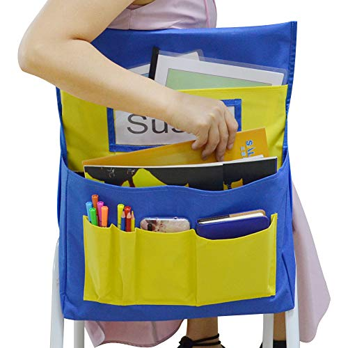 Godery Chairback Buddy Pocket Chart, Canvas Seatback Stuff Storage Pocket - Home, Classroom, Group Team Organizers for Child (Blue+Yellow) (Chair Chart)