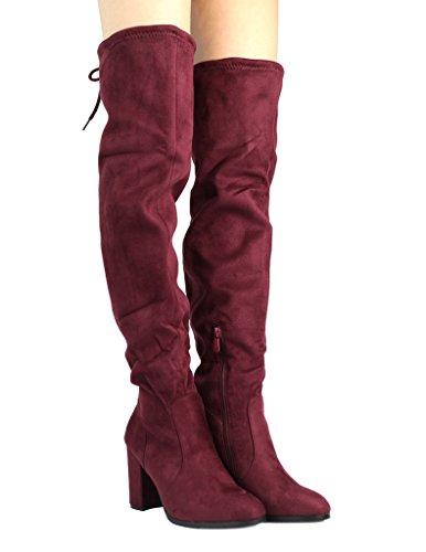 DREAM PAIRS Womens Shoo Over The Knee Boot Burgundy FHSmb