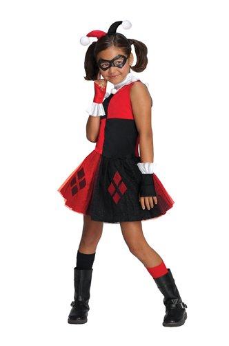 [DC Super Villain Collection Harley Quinn Girl's Costume with Tutu Dress, Medium] (Joker Costumes Kids)