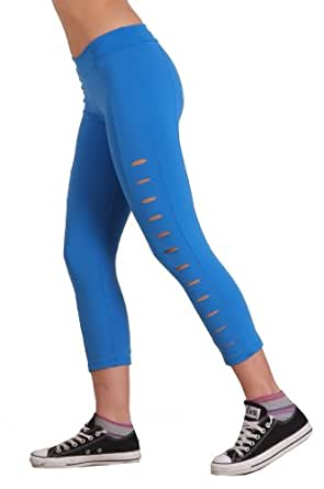 Margarita - Designer Activewear - Royal Blue Capri with Cuts Along Leg - Small
