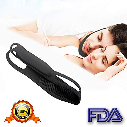 Anti Snoring Chin Strap - Best Stop Snoring Device - Adjustable Snore Reduction Straps - Sleep Aids Solution for Men Women Kids (blackstraight)