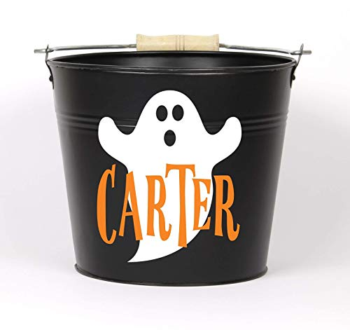 Personalized Halloween Ghost Name Pail - Choose The Color - Metal Pail Bucket Basket Bag for Girls and Boys -