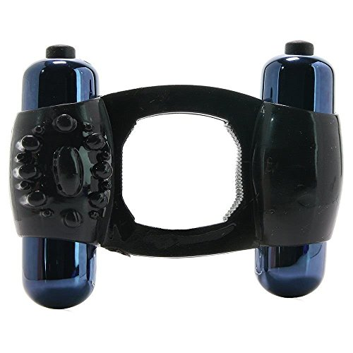 Black Stretch Dual Motor Double Bullet Enhancer Ring Couple Toys