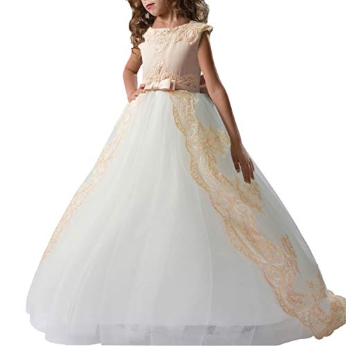 TYHTYM Champagne Flower Girl Dresses White Tulle Lace Cap Sleeves Puffy Ball Gown Pageant Birthday Party with Bow-Knot