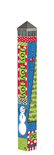 Joy Holly - Studio M Garden Art Pole Fade-Resistent Outdoor Décor, 3-Feet Tall, Holly and Joy