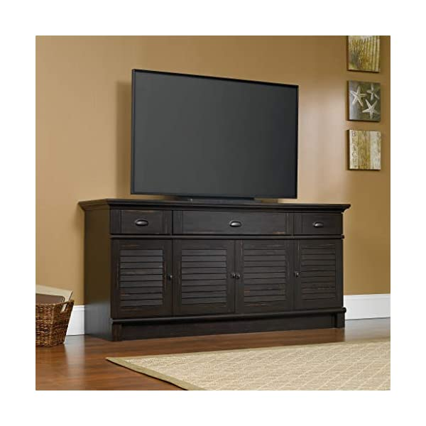"Sauder Harbor View Credenza, For TVs up to 70"", Antiqued Paint Finish"