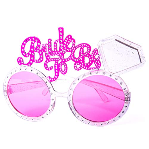 Bride to be Glasses, Bachelorette Party Glasses with Diamond Ring, Bridal Shower, Hen Party, Wedding Decorations, Party Favors Accessories, Pink Lenses and Silver Frame -