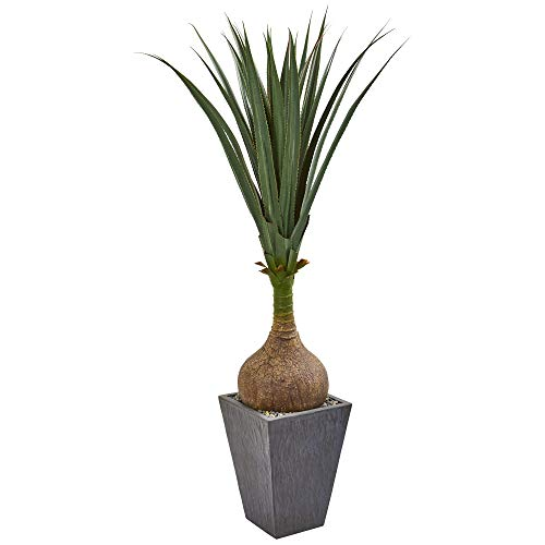 Nearly Natural 9393 5-Ft. Yucca Artificial Slate Planter Silk Plants Green ()