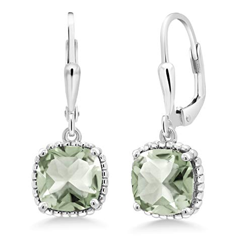 Gem Stone King Sterling Silver Green Prasiolite Dangling Earrings 4.10 cttw Cushion 8MM