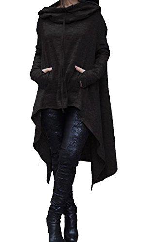 Futopion Women's Asymmetrical Hem Long Sleeve Hoodies Sweatshirts Tunic Tops XL Black -