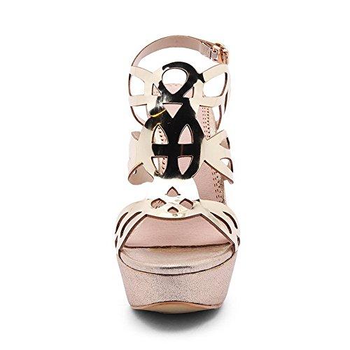 AdeeSu Plateau Gold SLC03605 Spikes Wildleder Stilettos Womens Sandaletten Metallschnallen WIacqIr