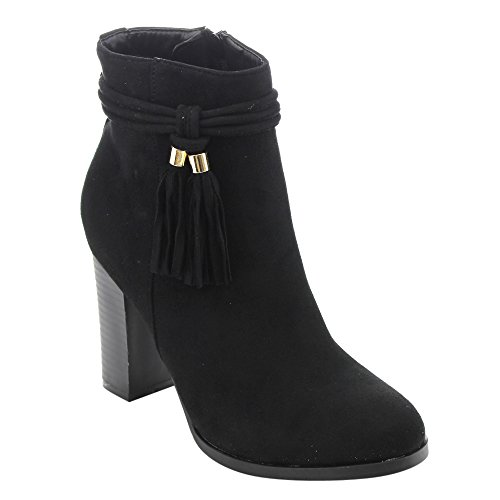 ATHENA ED49 Womens Side Zip Tassel Lace Wrap Stacked High Heel Ankle Booties Black 8BlZJLUN