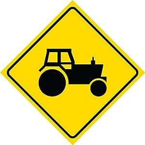 Amarillo de aluminio Diamond precaución Tractor Crossing Signs comercial Metal 12x 12cuadrado Sign