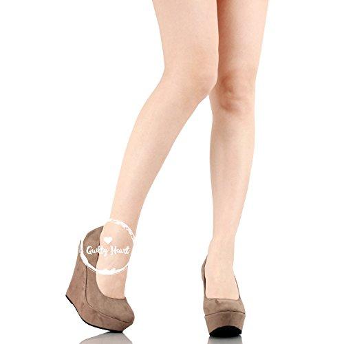 Delicacy Trendy-33 Slip On Platform High Heel Wedge Pump Shoes Taupe Suede vn20u