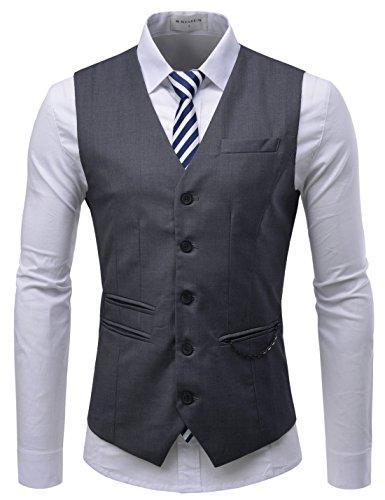TheLees (RVE) Mens Chain Zipper Pocket 5 Button Slim Vest Waistcoat Darkgray US S(Tag size L) ()