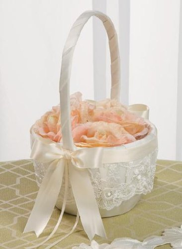 Beverly Clark Ivory Lace Flower Girl Basket with Satin Chocolate Brown Ribbon 223VI ()