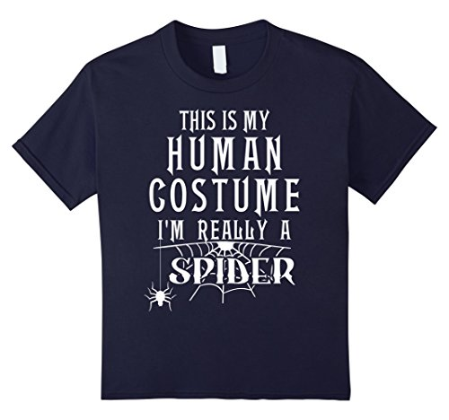 Kids Spider Fun Halloween Costume Shirt Humor Tee Men Boys Girls 12 Navy