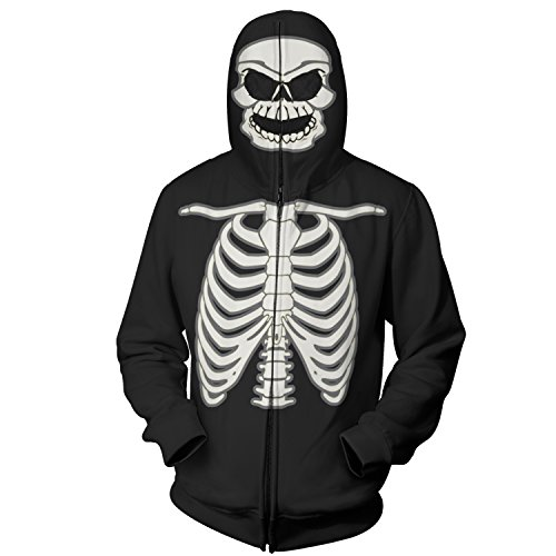 Full Zip Up Glow in The Dark Costume Hoodie Skeleton Sweatshirt (2XL, Black)