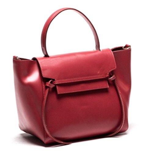 cuir en Fabriqué Italie Laura SUPERFLYBAGS Rouge Lisse main Sac à Model en véritable qxzIvw