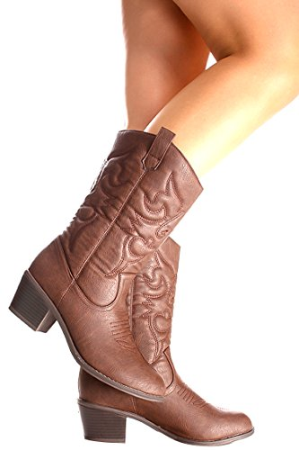 Ositos FAUX LEATHER MATERIAL STITCHED DESIGN CASUAL KNEE HIGH COWBOY BOOTS Brown Bdw14 eMQPeR1Er