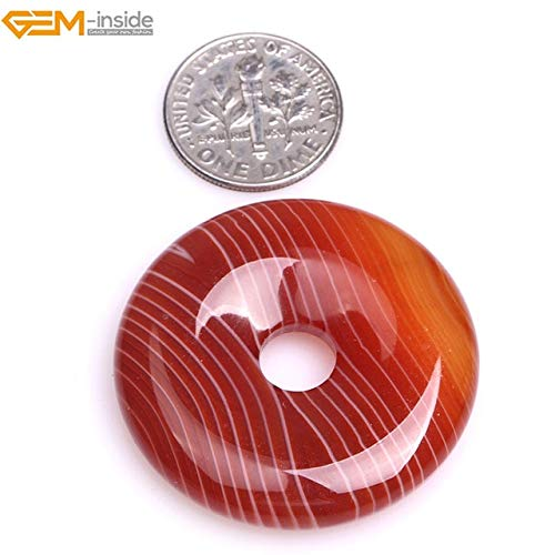 (Calvas Gem-Inside 30-40mm Natural Stone Beads Donuts Rings Red Onyx Sardonyx Agates Beads for Jewelry Making Pendant DIY Beads - (Color: 35mm))