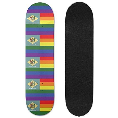 Nm Bushing (Rainbow Flag Delaware Sturdy Fitness Skateboard Longboards Deck Print School Skateboard Long Plate Double Play Scooter Cruiser)
