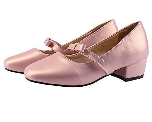 Puro Rosa Ballet AgooLar Tacco Luccichio Flats Tirare GMMDB007126 Donna Basso TzTCX4wqpx