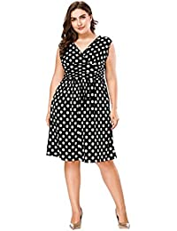 78a4a812ea16f Women s Polka Dot Sleeveless Casual Party Cocktail Plus Size Flare Swing  Midi Dress