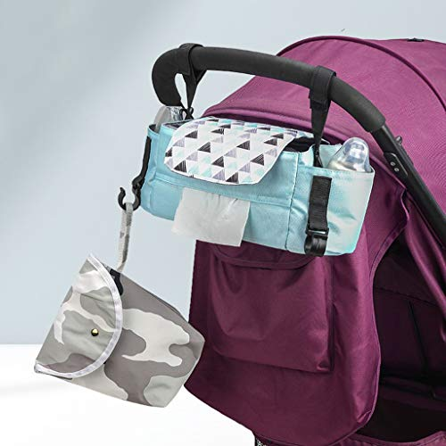 Kinderwagen Organizer,Kinderwagentasche Buggy Organizer Tasche Universal Multifunktion Aufbewahrungstasche Stroller Organizer Baby Wickeltasche Kinderwagen-Zubehör MiMiey (Grün)