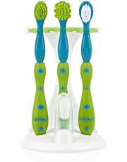 Nuby 4-Stage Oral Care Set with 1 Silicone Finger Massager, 2 Massaging Brushes, 1 Nylon Bristle Toddler Tooth Brush, Green/Aqua