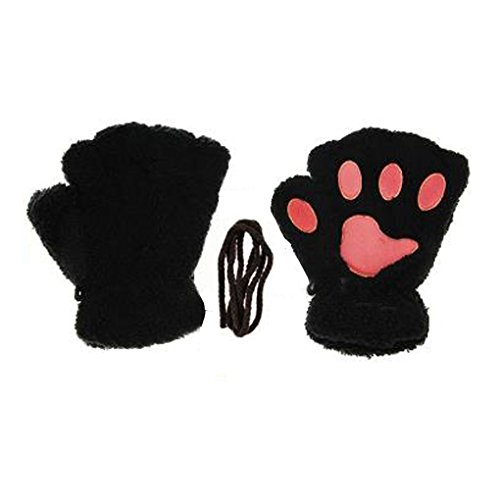 [Women Cashmere Cute Cat Claw Bear Paw Fingerless Plush Gloves for Halloween] (Cute Halloween Costumes)