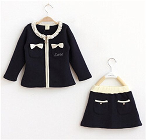 Travfis Children Girls Clothing Sets Autumn Winter Solid Long Sleeve Coat Skirt Set Baby Kids Girls Clothes Clothing Navy Blue 2T