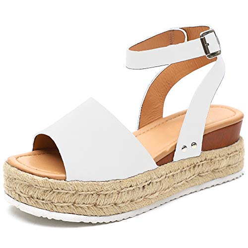 Athlefit Women's Platform Sandals Espadrille Wedge Ankle Strap Studded Open Toe Sandals Size 6.5 White