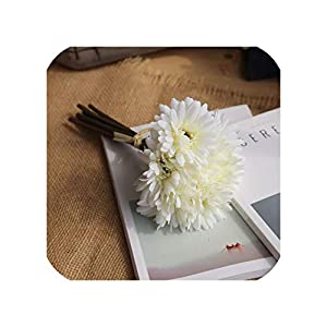 Almighty-shop Fake Flowers 7 Heads Artificial Silk Gerbera Daisy Daisy Sun Flower Home Wedding Party Holiday Decorations Illustrations Crafts,Milky White 18