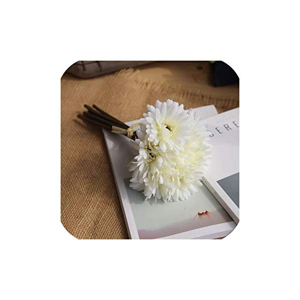 Almighty-shop Fake Flowers 7 Heads Artificial Silk Gerbera Daisy Daisy Sun Flower Home Wedding Party Holiday Decorations Illustrations Crafts,Milky White