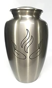 Ansons Urns Cremation Urn – Hands of Prayer Funeral Urn for Human Ashes – Large Adult Size Burial Urn – 100 Brass Silver